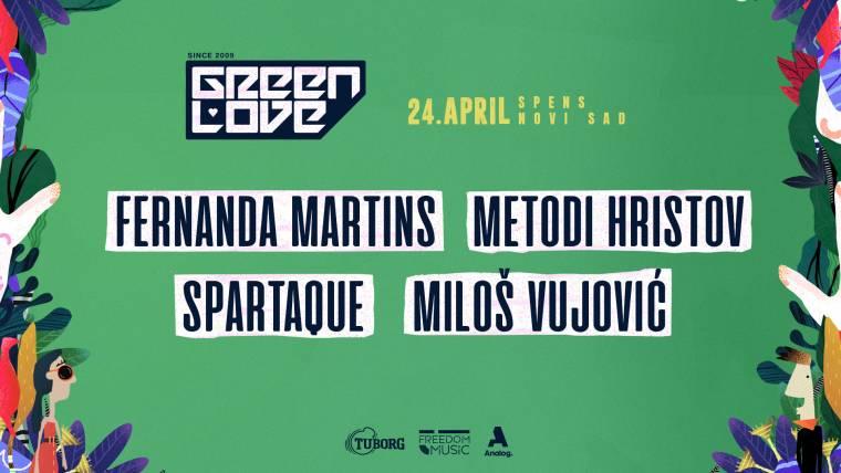 Fernanda Martins, Metodi Hristov, Spartaque i Miloš Vujović 24. aprila na Spensu u okviru Green Love festivala